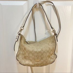 Coach taupe and white crossbody purse